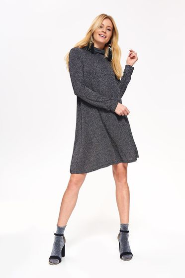 Top Secret black flared dress long sleeved soft fabric