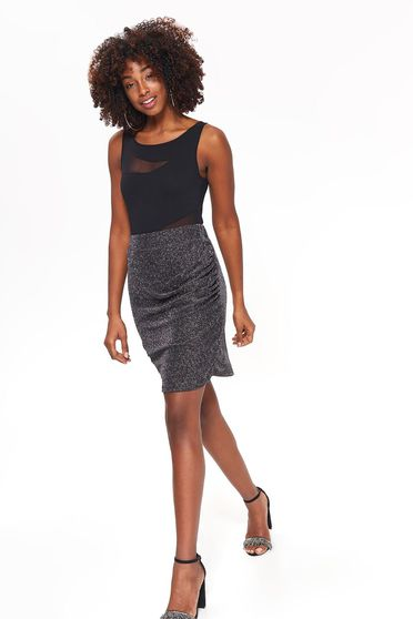 Top Secret black occasional high waisted pencil skirt shimmery metallic fabric