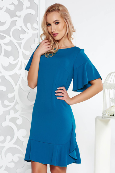 Turquoise elegant flared dress slightly elastic fabric with inside lining with ruffles at the buttom of the dress
