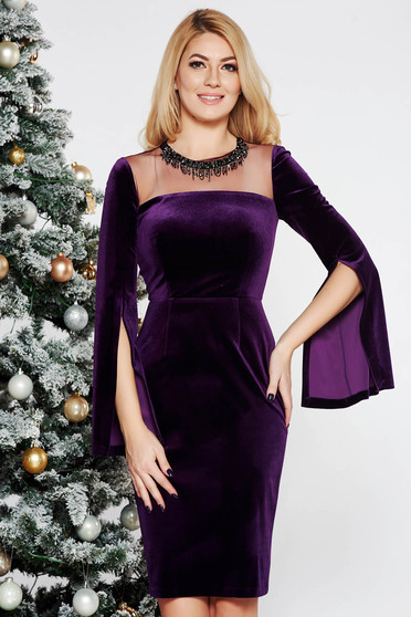 Purple occasional velvet pencil dress with small beads embellished details