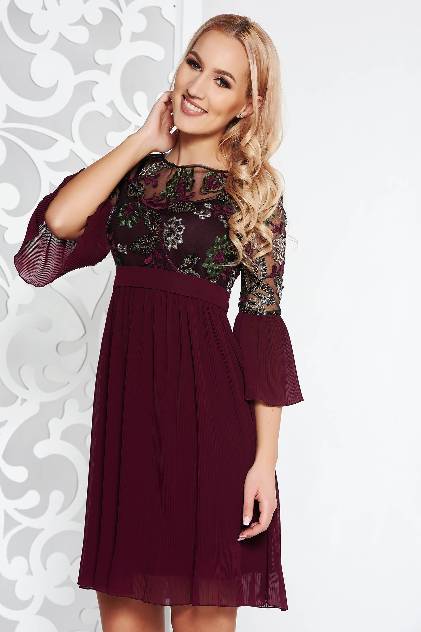 Burgundy occasional dress from veil and tulle fabric embroidered with inside lining