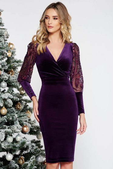Fofy purple occasional midi velvet dress with sequin embellished details with tented cut