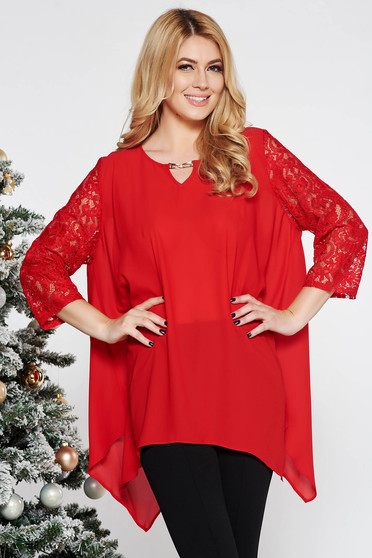 Red elegant asymmetrical flared women`s blouse voile fabric with laced sleeves