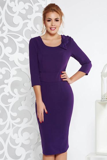 Purple midi elegant pencil dress slightly elastic fabric with bow