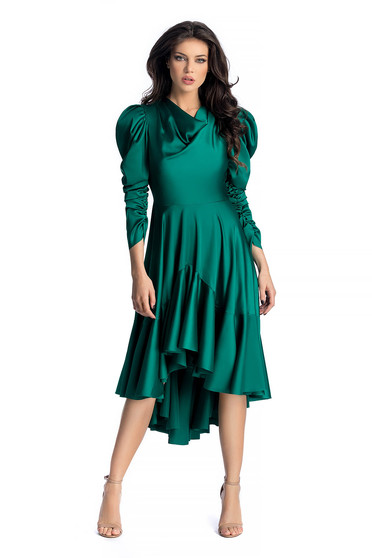 Ana Radu darkgreen luxurious asymmetrical dress from satin fabric texture with puffed sleeves with ruffles at the buttom of the dress