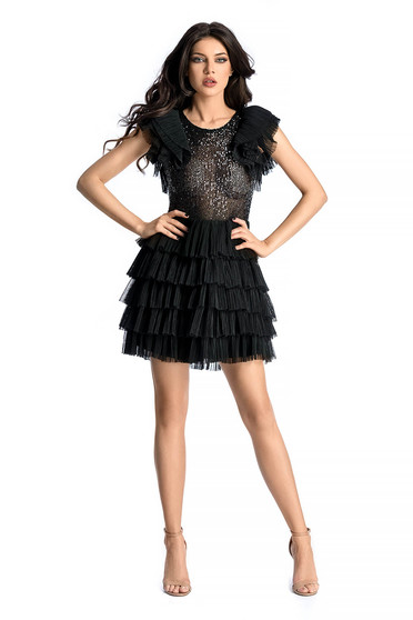 Ana Radu black luxurious dress from tulle with sequins with inside lining with ruffled sleeves