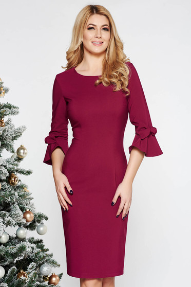 LaDonna fuchsia elegant pencil dress slightly elastic fabric with inside lining with bell sleeve