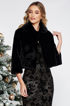 LaDonna black embroidered occasional fur with inside lining
