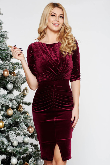 Artista burgundy occasional dress from velvet with small beads embellished details with tented cut