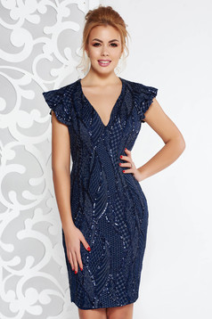 Artista darkblue occasional dress with sequins with inside lining with v-neckline with tented cut