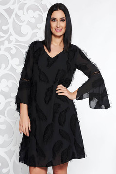 Black elegant flared dress voile fabric with inside lining with bell sleeve