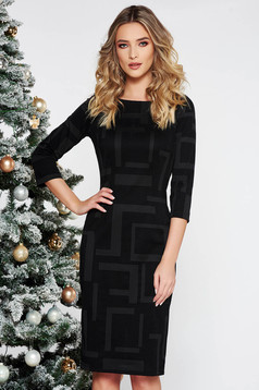 Black elegant midi dress slightly elastic cotton with tented cut with 3/4 sleeves