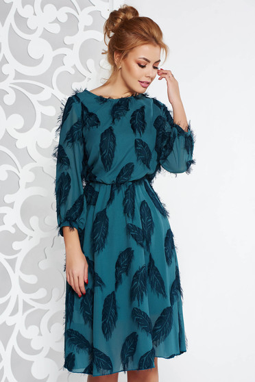 Darkgreen elegant midi cloche dress from veil fabric with inside lining with elastic waist