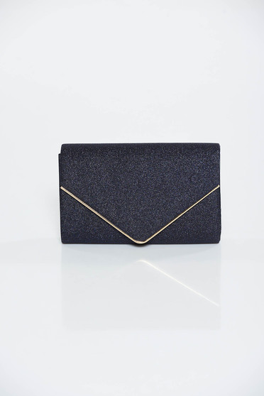 Darkblue occasional bag clutch from shiny fabric