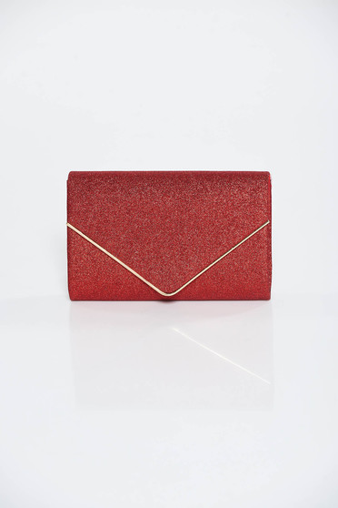 Red bag occasional clutch from shiny fabric