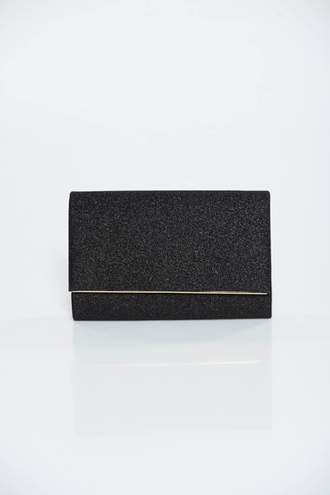 Black bag occasional clutch from shiny fabric