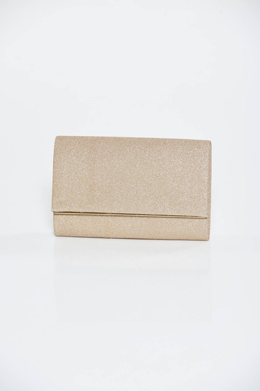 Gold bag occasional clutch from shiny fabric