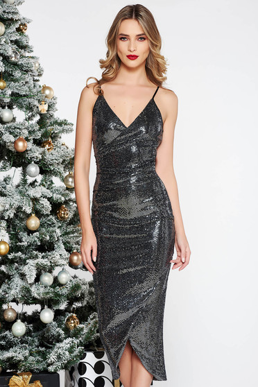 StarShinerS black dress occasional with tented cut with sequins midi with v-neckline with straps