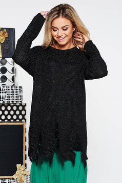 SunShine black flared sweater knitted fabric from shiny fabric with ruptures