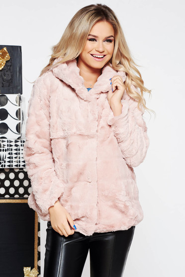 SunShine rosa clubbing fur from ecological fur with inside lining with undetachable hood