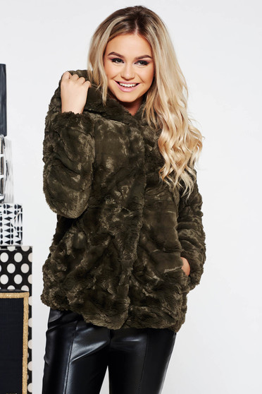 SunShine khaki clubbing fur from ecological fur with inside lining with undetachable hood