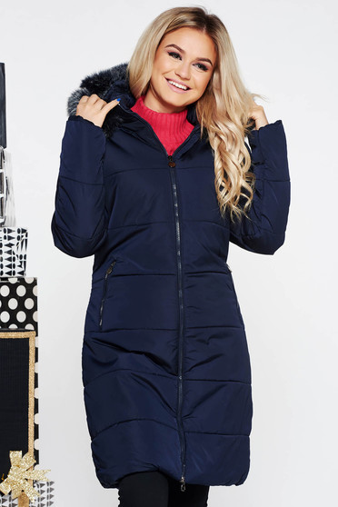 SunShine darkblue casual from slicker jacket with inside lining with faux fur accessory with pockets