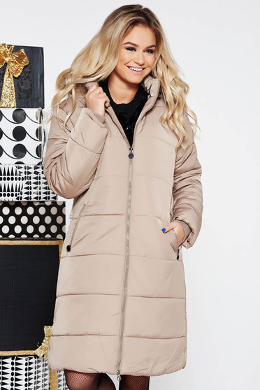 SunShine cream casual from slicker jacket with inside lining with faux fur accessory with pockets
