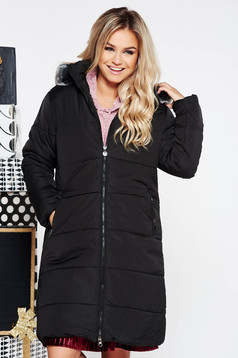 SunShine black casual from slicker jacket with inside lining with faux fur accessory with pockets