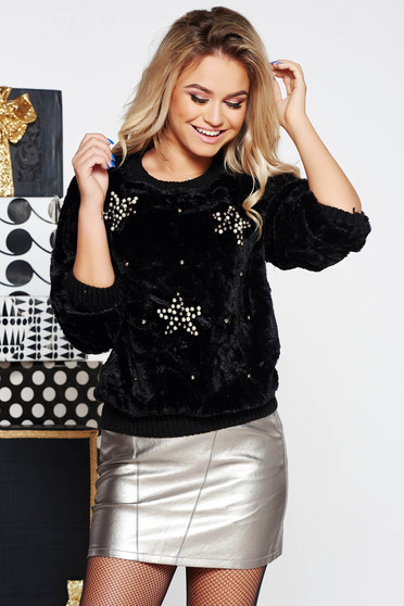 SunShine black casual flared sweater from soft fabric with small beads embellished details