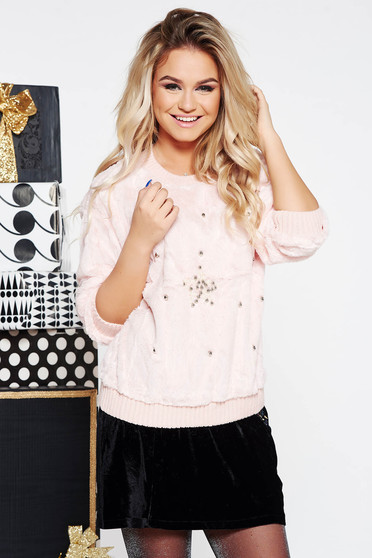SunShine rosa casual flared sweater from soft fabric with small beads embellished details