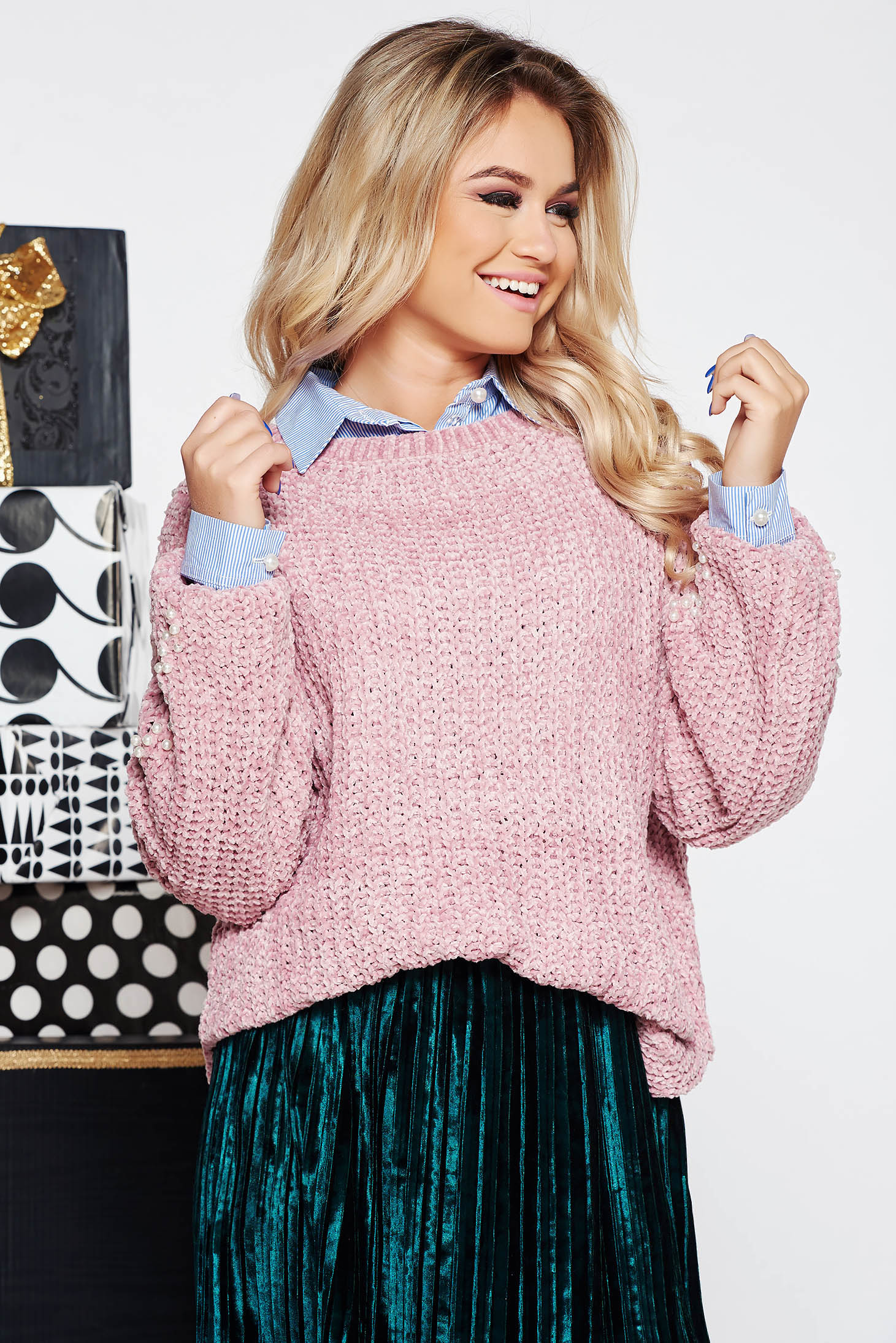 SunShine rosa casual flared sweater knitted fabric from velvet fabric with pearls