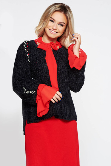 SunShine black casual flared sweater knitted fabric from velvet fabric with pearls