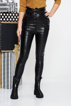 SunShine black casual high waisted trousers from ecological leather accessorized with tied waistband