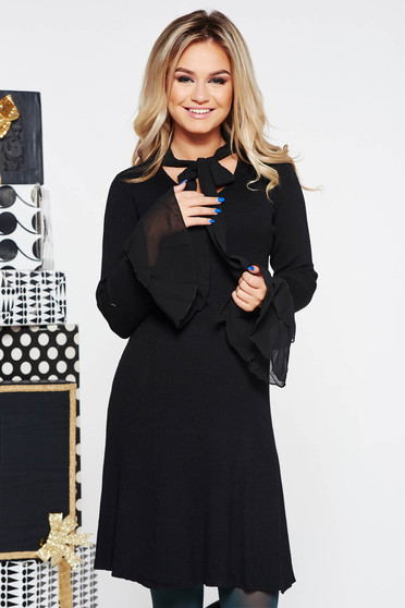 SunShine black clubbing dress with tented cut knitted fabric with bell sleeve