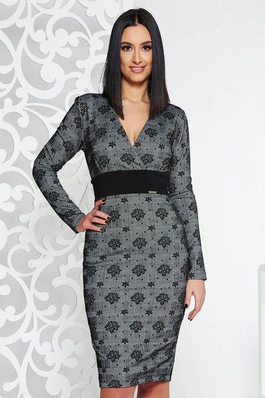 PrettyGirl grey midi pencil dress from elastic fabric from soft fabric with inside lining with v-neckline