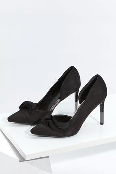 Top Secret black elegant shoes with ruffle details from velvet fabric slightly pointed toe tip