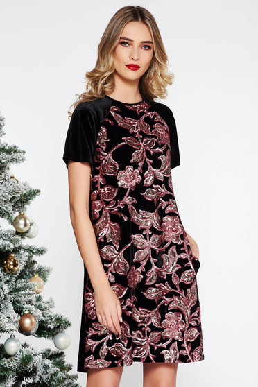 StarShinerS black occasional flared dress velvet with sequins short sleeves