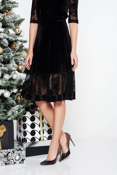 StarShinerS black midi velvet elegant cloche skirt with inside lining high waisted