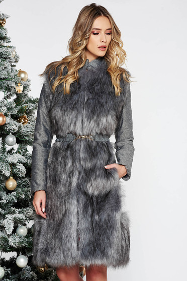 LaDonna grey from slicker jacket with inside lining with faux fur accessory accessorized with tied waistband