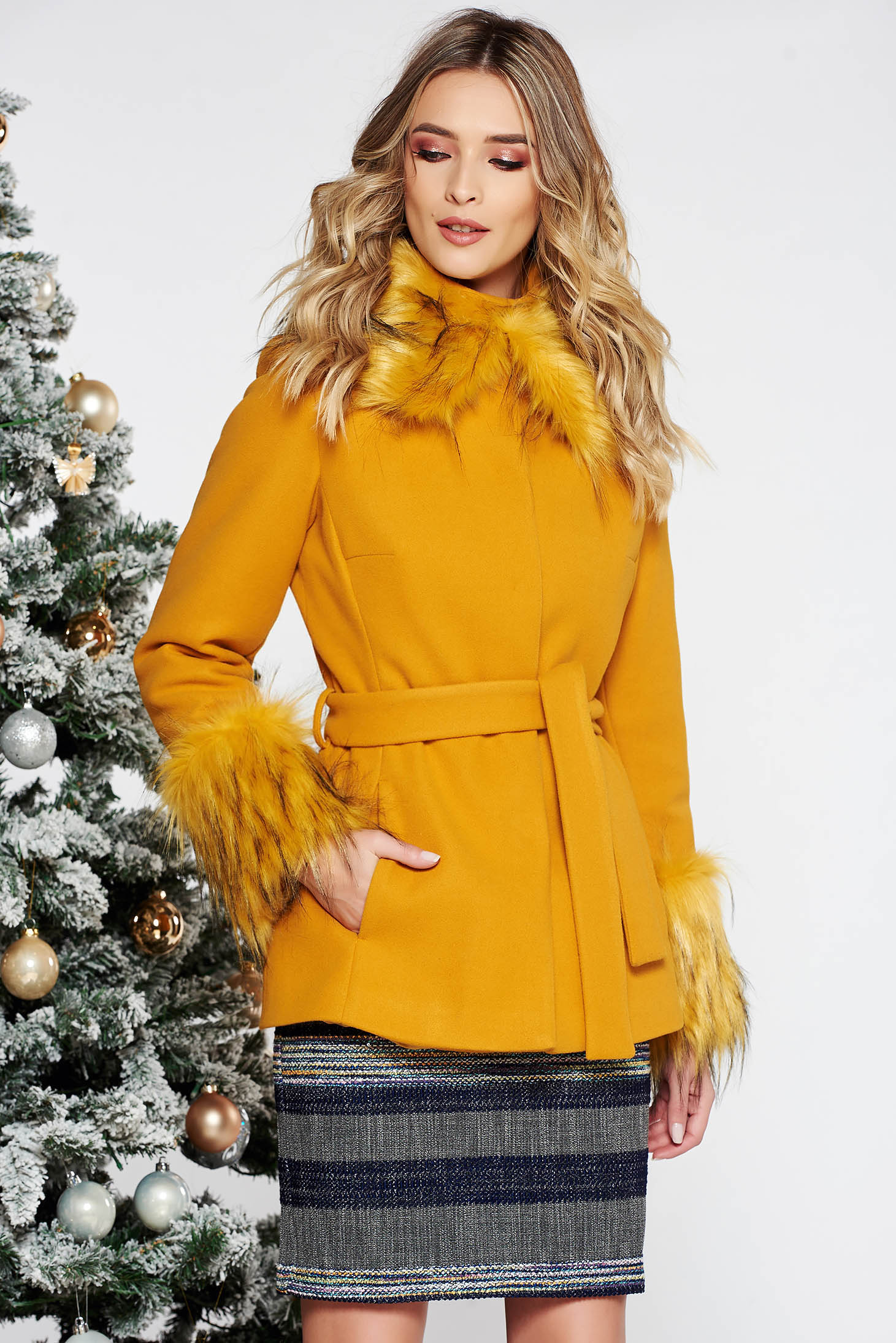 LaDonna mustard elegant short cut flared wool coat with inside lining accessorized with tied waistband