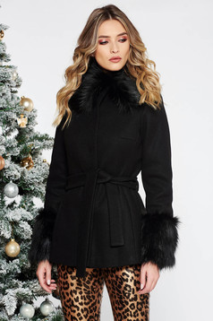 LaDonna black elegant short cut flared wool coat with inside lining accessorized with tied waistband