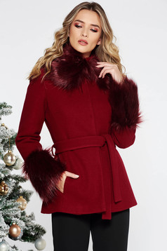 LaDonna burgundy elegant short cut flared wool coat with inside lining accessorized with tied waistband