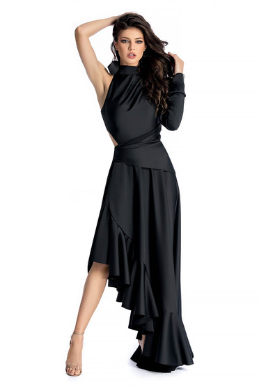 Ana Radu black luxurious asymmetrical dress from satin fabric texture accessorized with tied waistband
