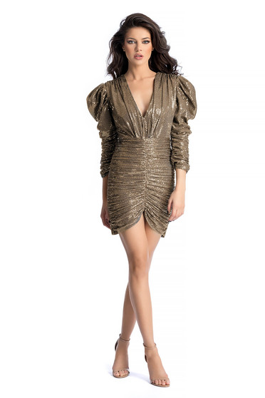 Ana Radu gold luxurious dress with tented cut with sequins with puffed sleeves