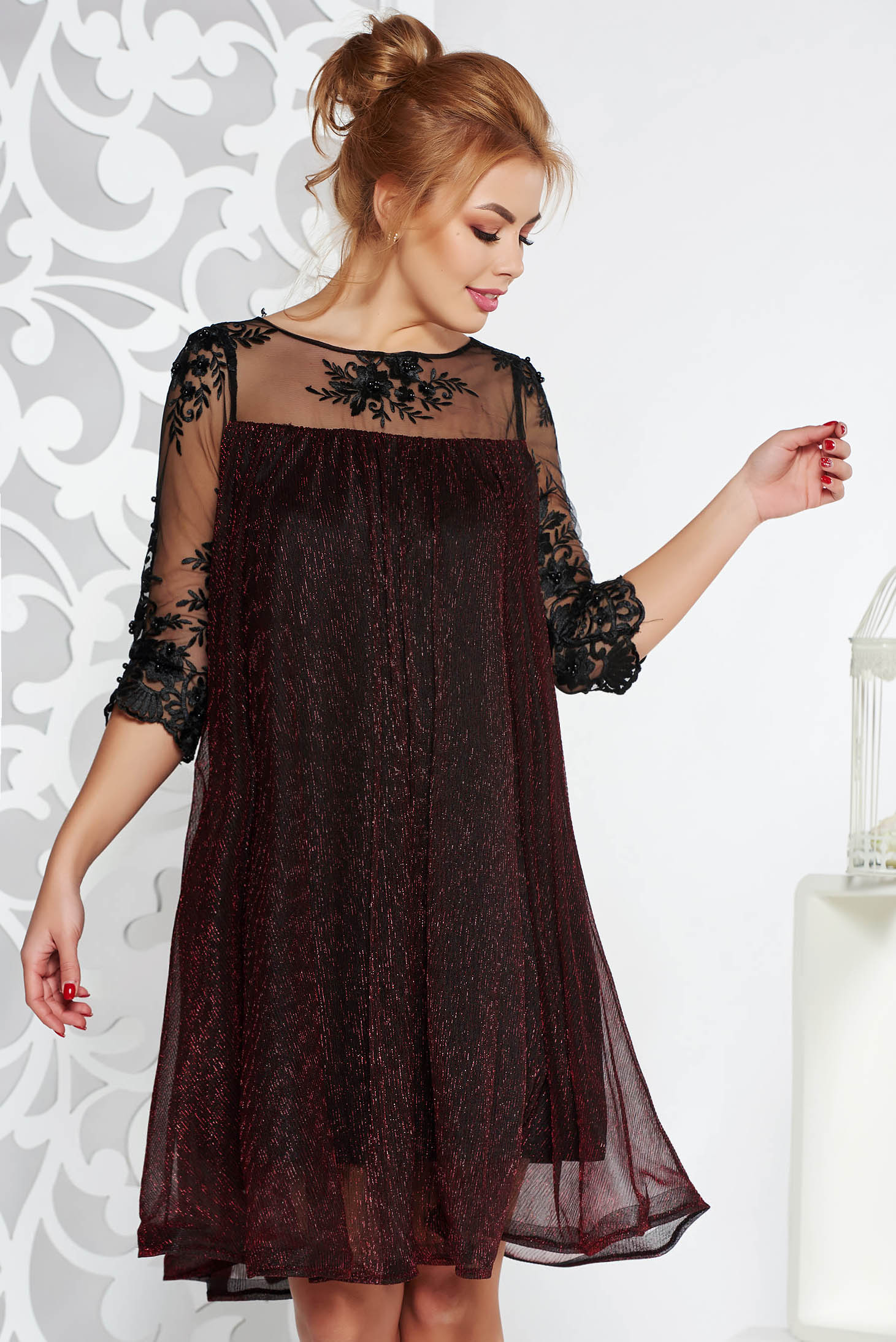 Artista burgundy occasional flared dress thin fabric with inside lining with laced sleeves with lame thread