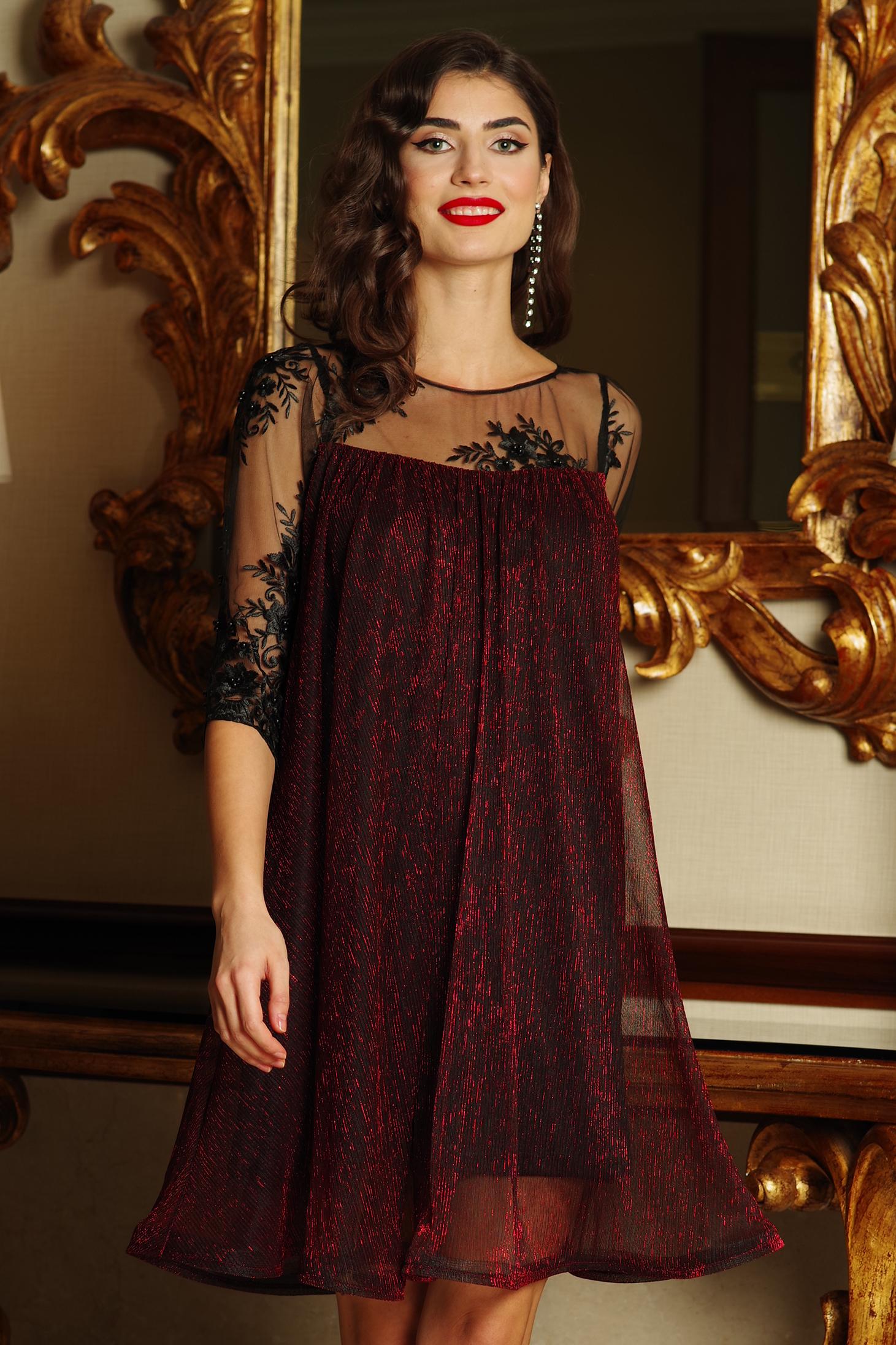 Burgundy Artista alkalmi bő szabású ruha vékony anyag belső béléssel csipke ujj lamé szál