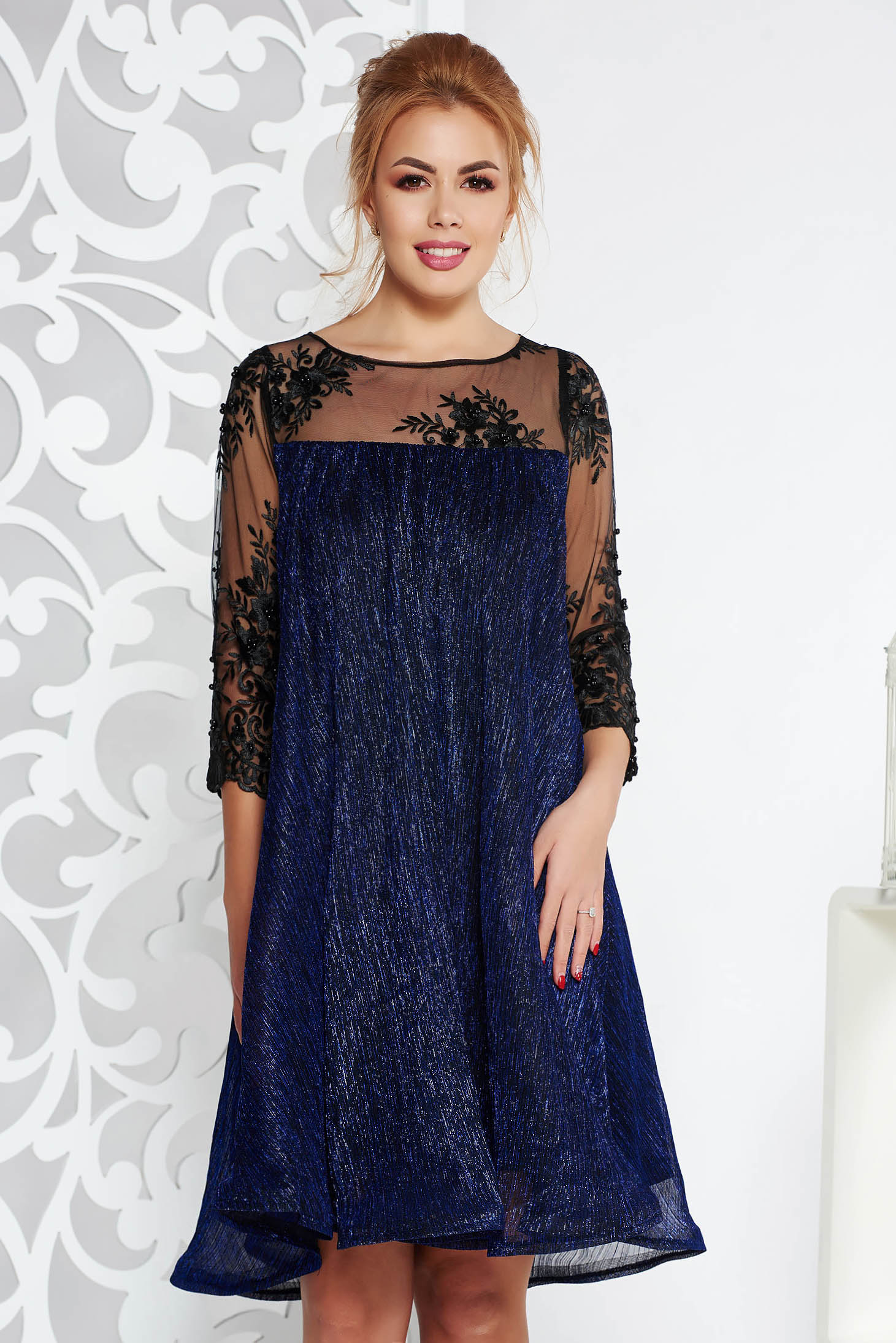 Artista darkblue occasional flared dress thin fabric with inside lining with laced sleeves with lame thread
