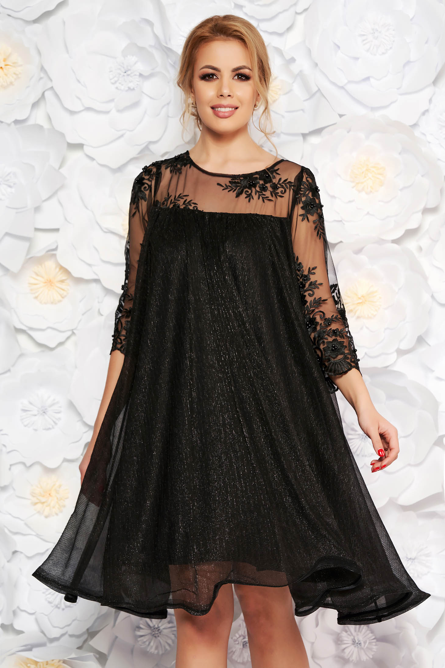 Artista black occasional flared dress thin fabric with inside lining with laced sleeves with lame thread