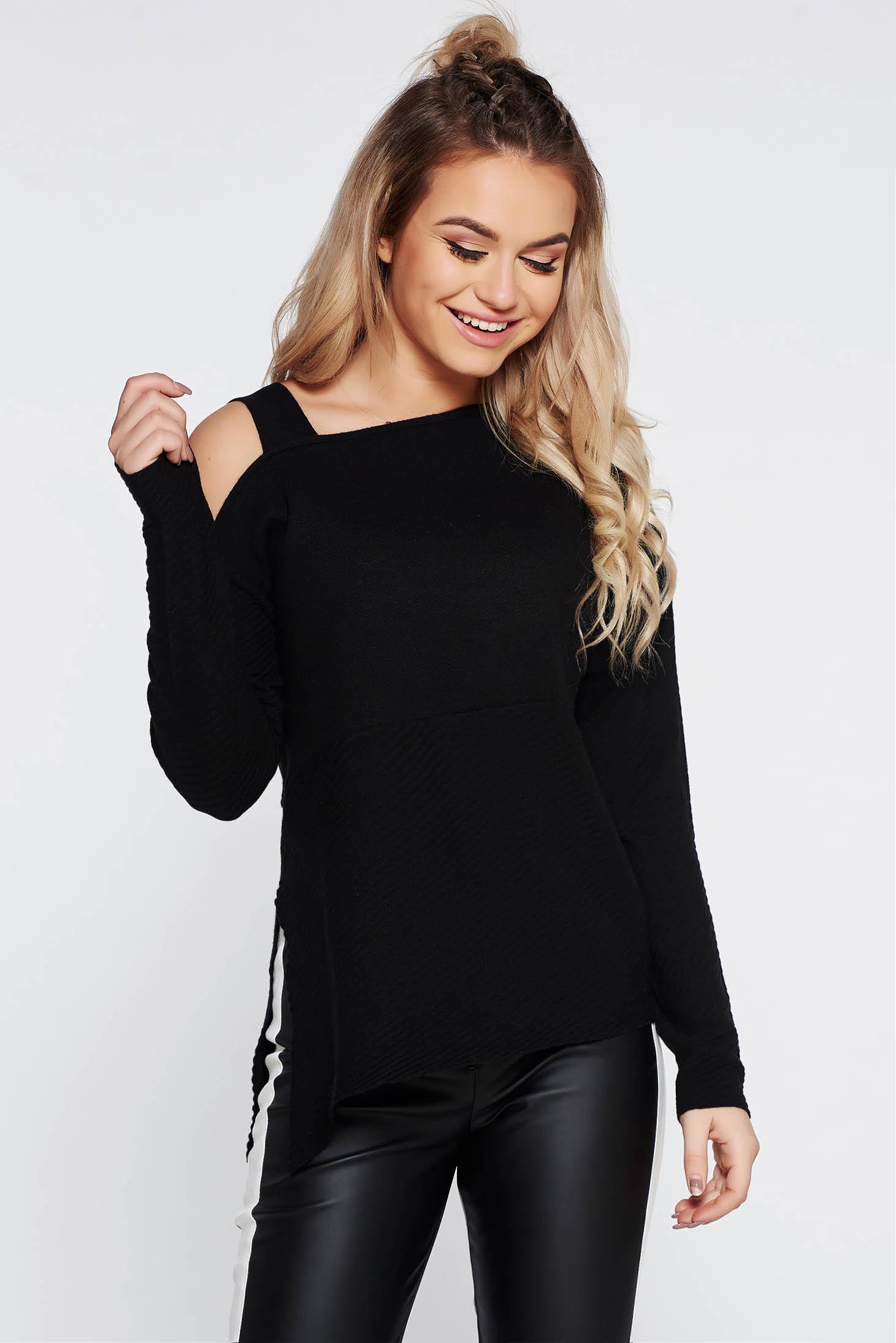 Pulover Top Secret negru casual asimetric cu croi larg din material tricotat