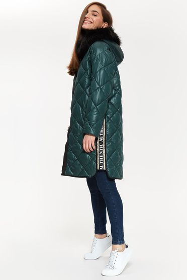 Top Secret green from slicker jacket long sleeve with easy cut with faux fur accessory